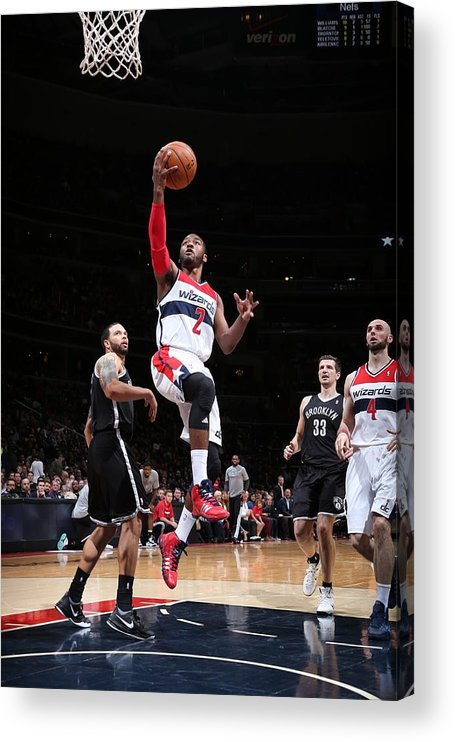 Nba Pro Basketball Acrylic Print featuring the photograph Brooklyn Nets V Washington Wizards by Ned Dishman