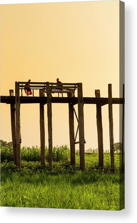 Grass Acrylic Print featuring the photograph Buddhist Monks Seated On U Bein Bridge by Merten Snijders