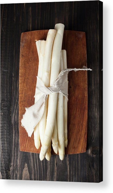 Cutting Board Acrylic Print featuring the photograph Bunch Of White Asparagus On Chopping by Westend61