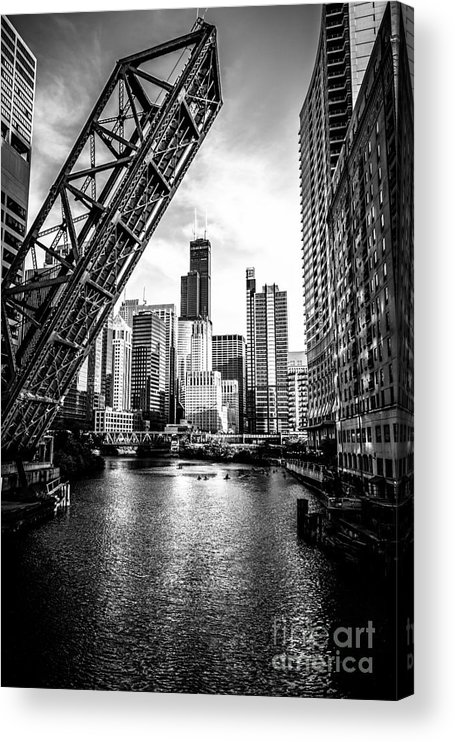 America Acrylic Print featuring the photograph Chicago Kinzie Street Bridge Black and White Picture by Paul Velgos