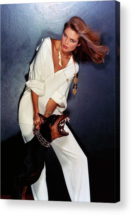 Accessories Acrylic Print featuring the photograph Christie Brinkley Wearing Geoffrey Beene Pajamas by Chris Von Wangenheim