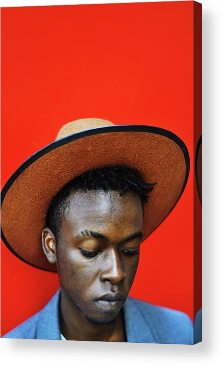 Young Men Acrylic Print featuring the photograph Close-up Of Man Wearing Hat Against Red by Samson Wamalwa / Eyeem