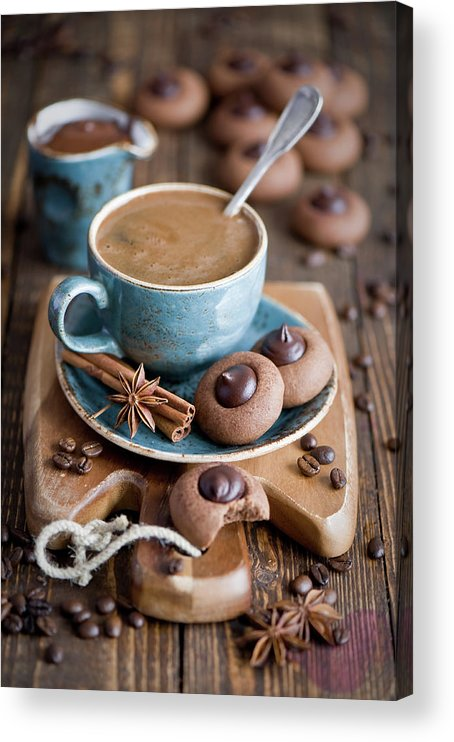 Temptation Acrylic Print featuring the photograph Coffee And Cookies by Verdina Anna