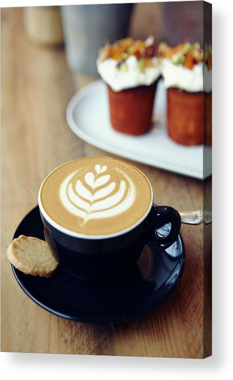 Bakery Acrylic Print featuring the photograph Cup Of Coffee With Leaf Pattern On by Jake Curtis