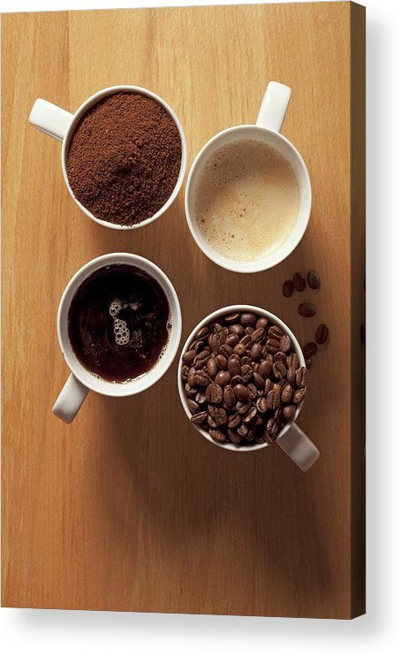 Shadow Acrylic Print featuring the photograph Cups Of Coffee And Coffee Beans by Larry Washburn