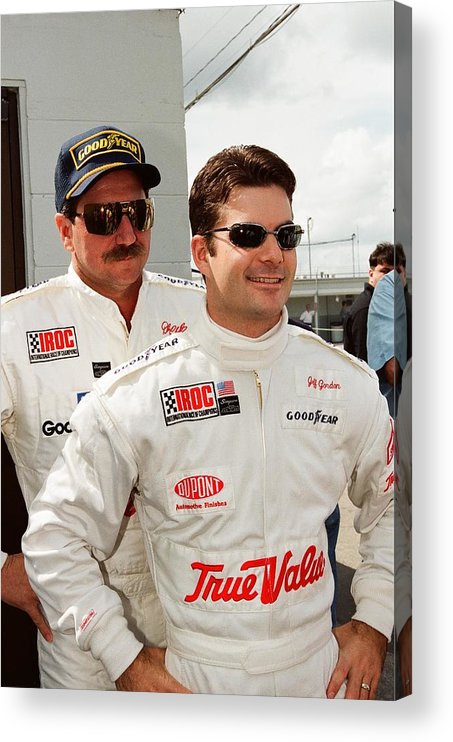 Earnhardt Acrylic Print featuring the photograph Dale Earnhardt playing jokes on Jeff Gordon by Retro Images Archive