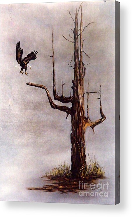 Eagle In Flight Acrylic Print featuring the painting Eagle with Snag by Lynne Parker