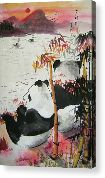 Animals Acrylic Print featuring the painting Evening Romance by Lian Zhen