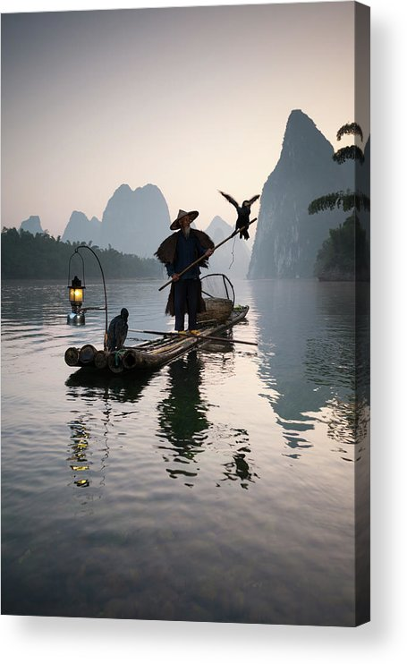 Chinese Culture Acrylic Print featuring the photograph Fisherman With Cormorants On Li River by Matteo Colombo