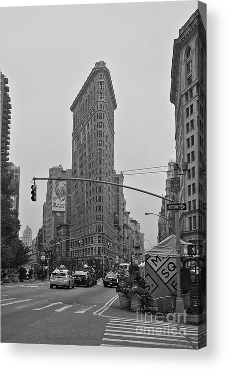 Flatiron Acrylic Print featuring the photograph Flatiron Black and White by David Bearden