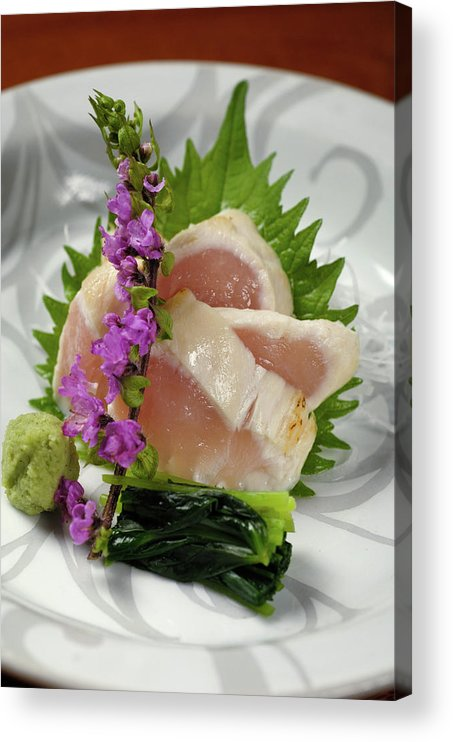 Japanese Food Acrylic Print featuring the photograph Fresh Slices Of The Bird Of by Ryouchin