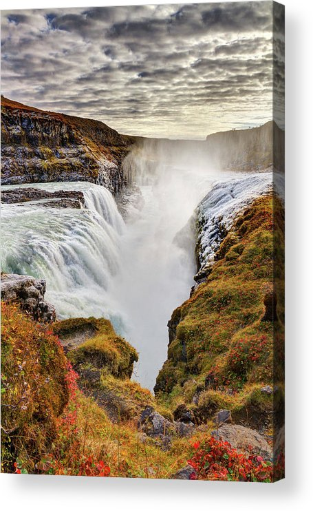 Scenics Acrylic Print featuring the photograph Frozen Mist On Autumn Day At Gullfoss by Anna Gorin