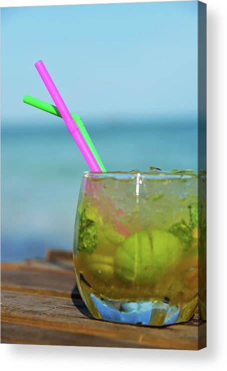 Outdoors Acrylic Print featuring the photograph Glass Of Mojito Cocktail By Tropical by Sami Sarkis