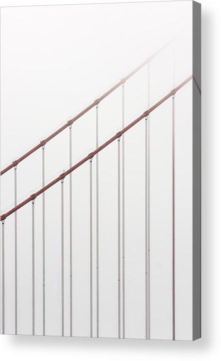 Scenics Acrylic Print featuring the photograph Golden Gate Bridge Cable Fog by Chuckschugphotography
