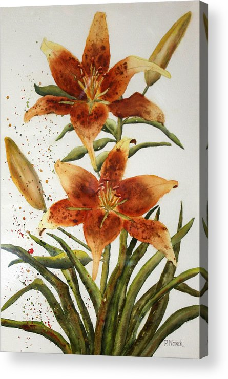 Lilies Acrylic Print featuring the painting Golden Lilies by Patricia Novack