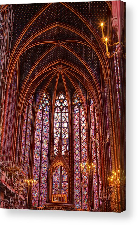 Gothic Style Acrylic Print featuring the photograph Gothic Architecture Inside Sainte by Julian Elliott Photography