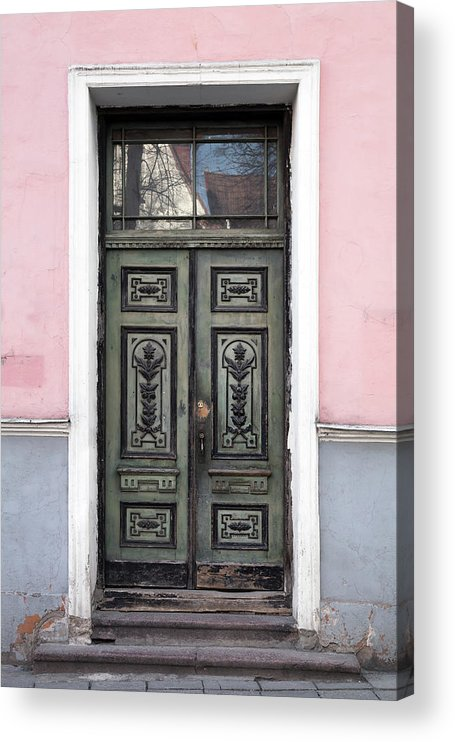 Rectangle Acrylic Print featuring the photograph Green Wooden Door In Old Building by Eugenesergeev