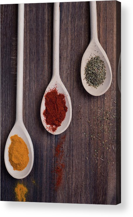In A Row Acrylic Print featuring the photograph Herbs And Spices by Photo By Asri' Rie