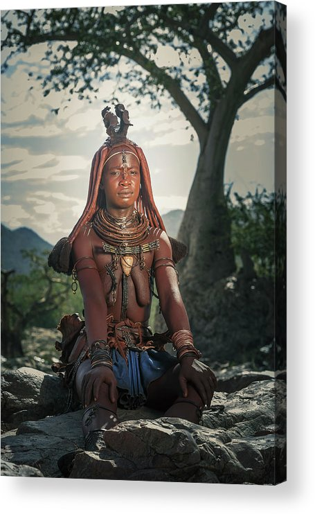 People Acrylic Print featuring the photograph Himba Woman With Traditional Hair Dress by Buena Vista Images