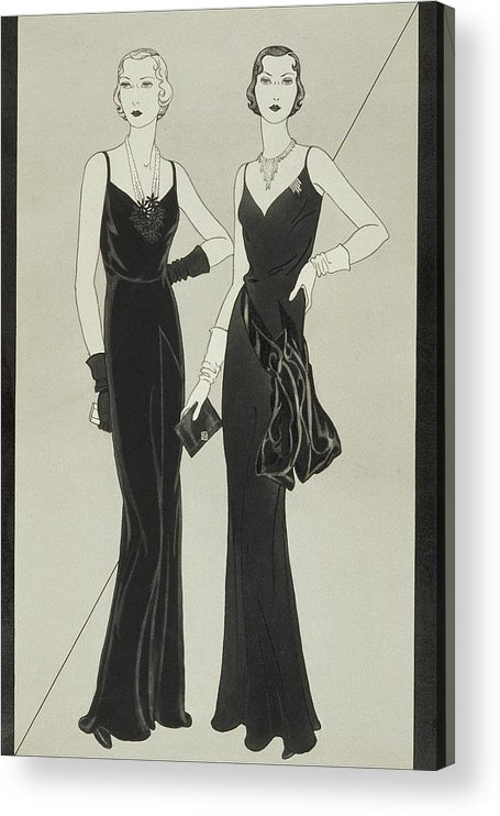 Fashion Acrylic Print featuring the digital art Illustration Of Two Women Wearing Mainbocher by Douglas Pollard