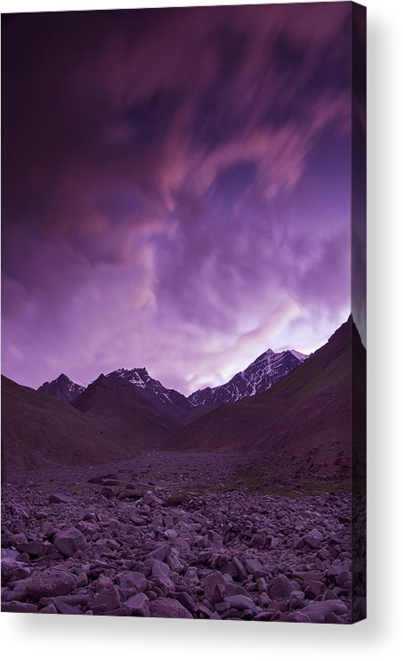 Mountains Acrylic Print featuring the photograph Kangri Twilight by Aaron Bedell