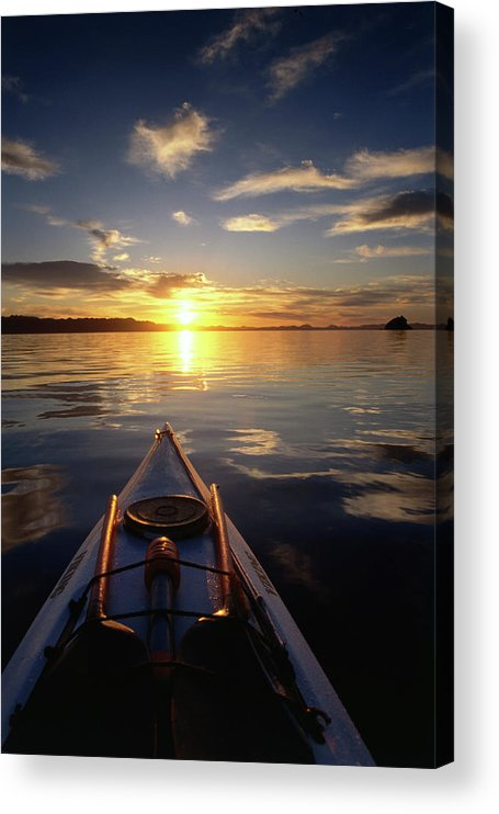 Latin America Acrylic Print featuring the photograph Kayaking At Sunset On Bahia Concepcion by Mark Newman