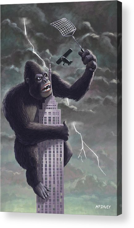 Kong Acrylic Print featuring the painting King Kong Plane Swatter by Martin Davey