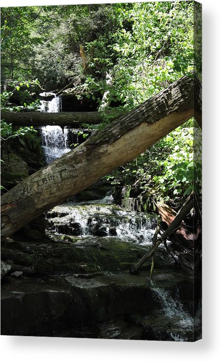 Waterfall Acrylic Print featuring the photograph Log Jam by Dervent Wiltshire