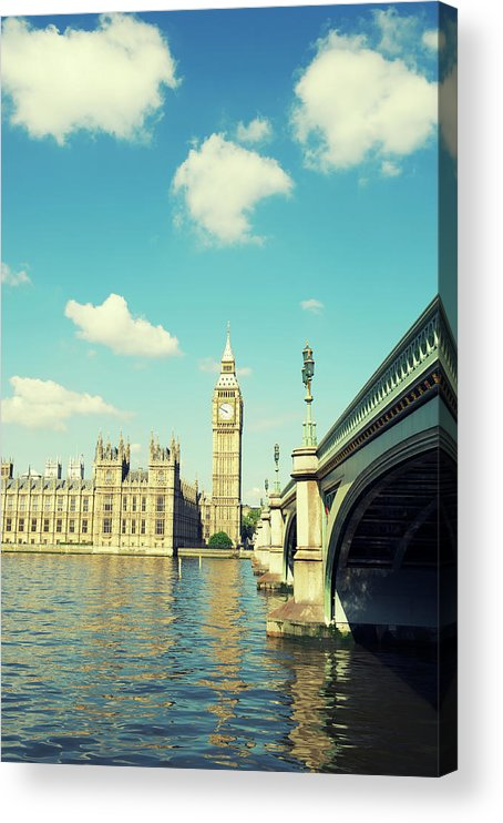 Clock Tower Acrylic Print featuring the photograph London Big Ben Houses Of Parliament by Peskymonkey