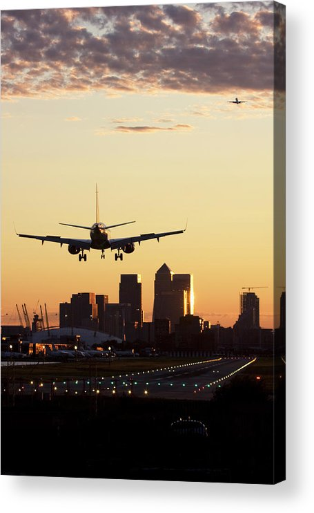Taking Off Acrylic Print featuring the photograph London City Airport by Greg Bajor