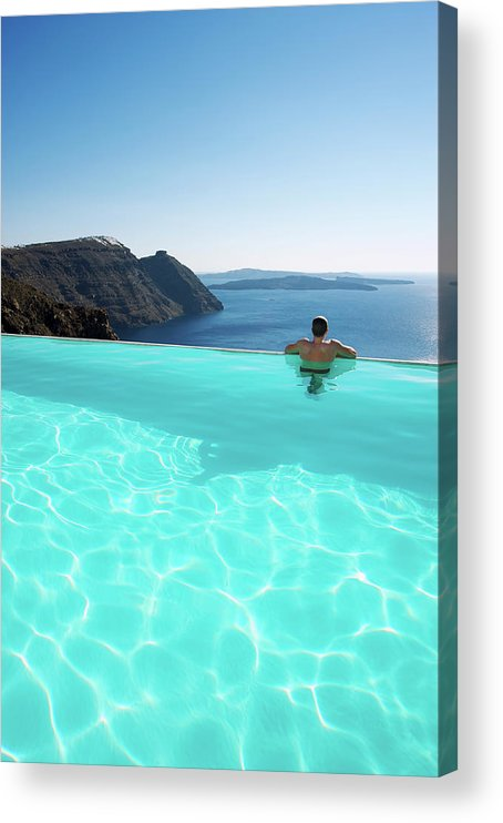 People Acrylic Print featuring the photograph Man Relaxing Looking At Santorini by Peskymonkey