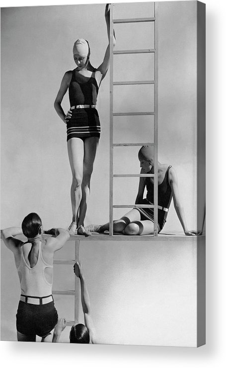 Fashion Acrylic Print featuring the photograph Models Wearing Bathing Suits by George Hoyningen-Huene