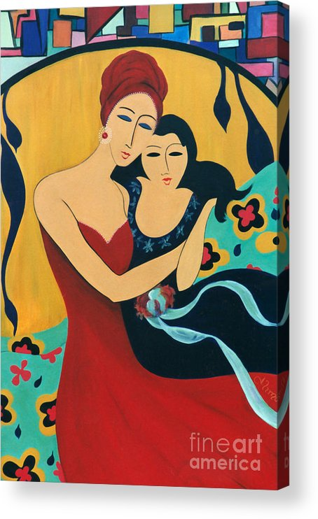 #motherandchild Acrylic Print featuring the painting Mother and Child by Jacquelinemari
