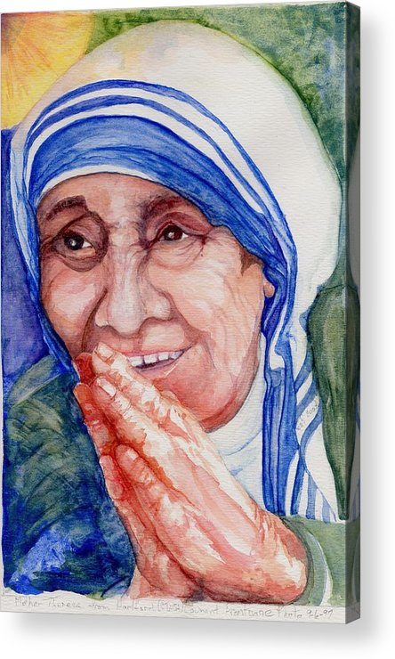 Elle Fagan Acrylic Print featuring the painting Mother Teresa by Elle Smith Fagan