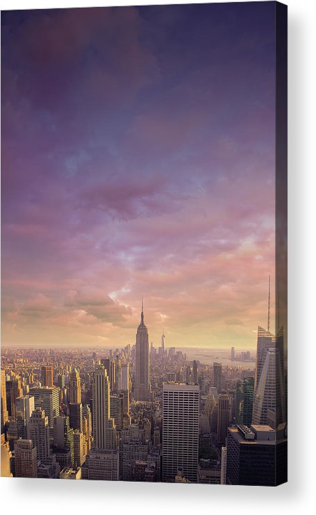 Lower Manhattan Acrylic Print featuring the photograph Nyc At Sunset by Bluberries