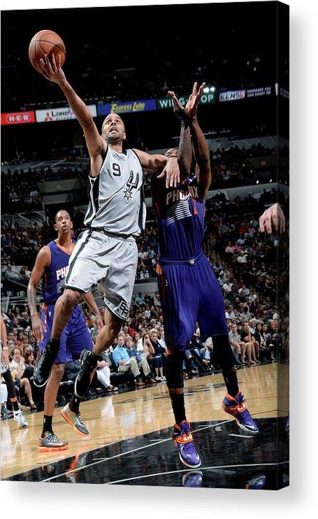 Nba Pro Basketball Acrylic Print featuring the photograph Phoenix Suns V San Antonio Spurs by D. Clarke Evans