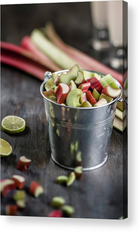 Bucket Acrylic Print featuring the photograph Pieces Of Rhubarb In Metal Bucket And by Westend61