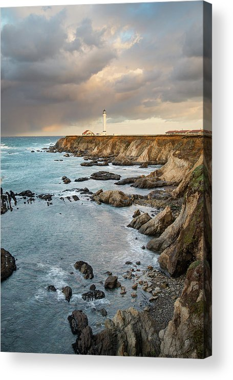 Headland Acrylic Print featuring the photograph Point Arena Headland And Lighthouse by Kjschoen