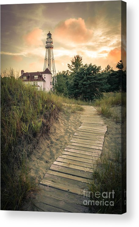 Rawley Point Acrylic Print featuring the photograph Rawley Point Lighthouse Under Smoldering Skies by Ever-Curious Photography