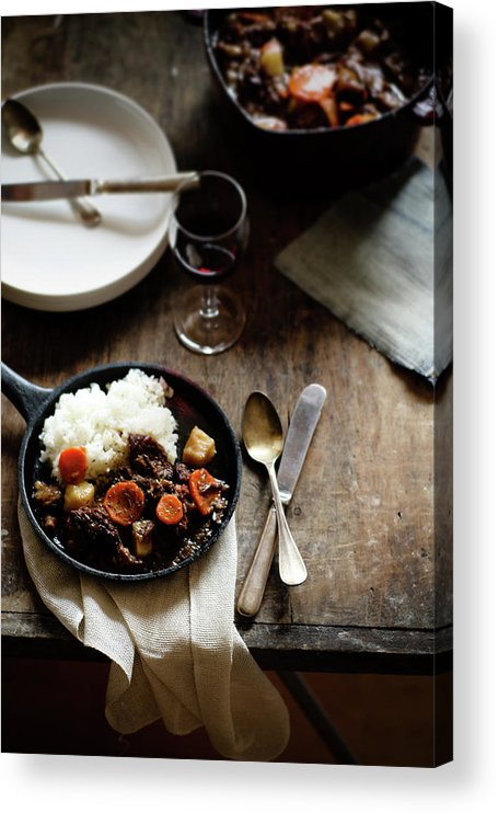 Spoon Acrylic Print featuring the photograph Red Wine Braised Beef by 200