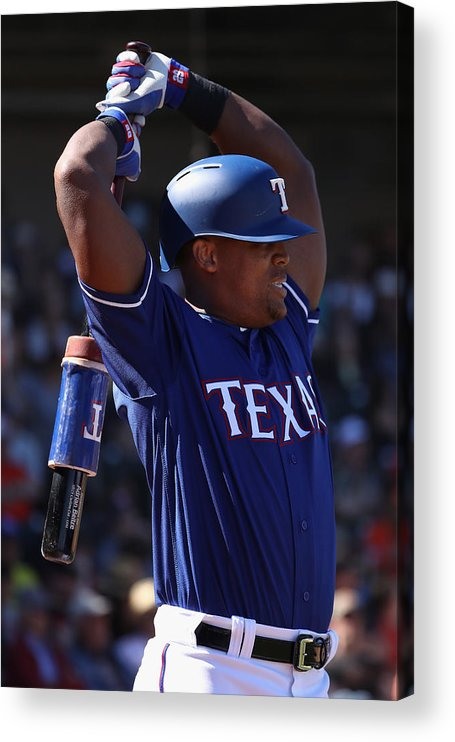 Adrian Beltre Acrylic Print featuring the photograph San Francisco Giants v Texas Rangers by Christian Petersen