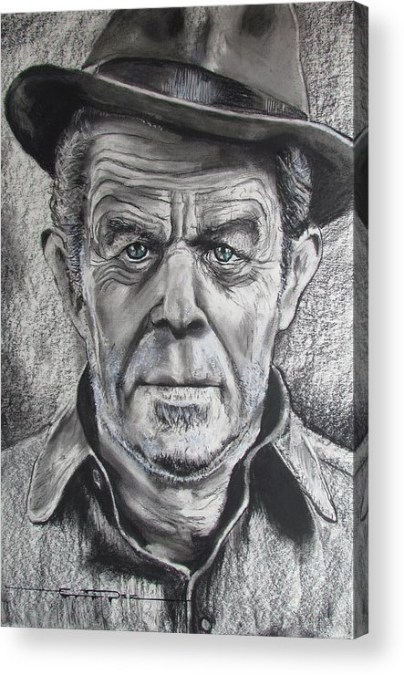 Tom Waits Acrylic Print featuring the drawing Small Change for Tom Waits by Eric Dee