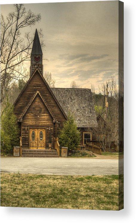 Love Acrylic Print featuring the photograph Smokey Mountain Love Chapel 2 by Douglas Barnett