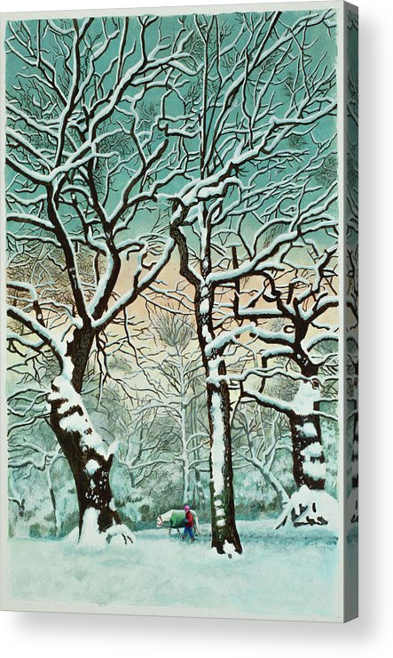 People Acrylic Print featuring the digital art Snow In Forest by Georgette Douwma