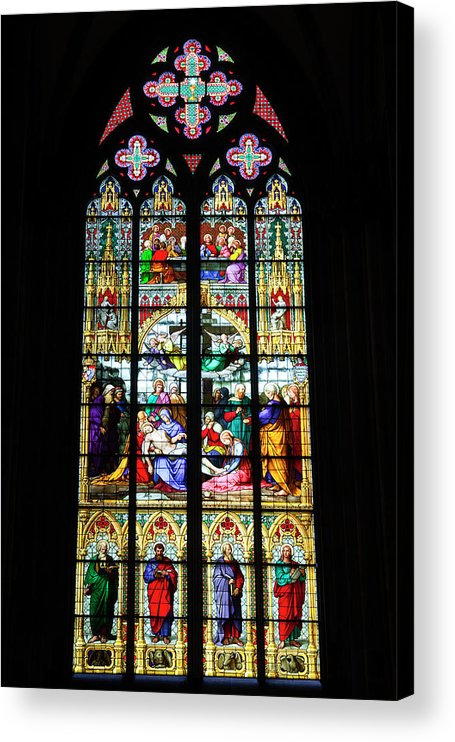 Gothic Style Acrylic Print featuring the photograph Stained Glass Window In Cologne by Julian Elliott Photography