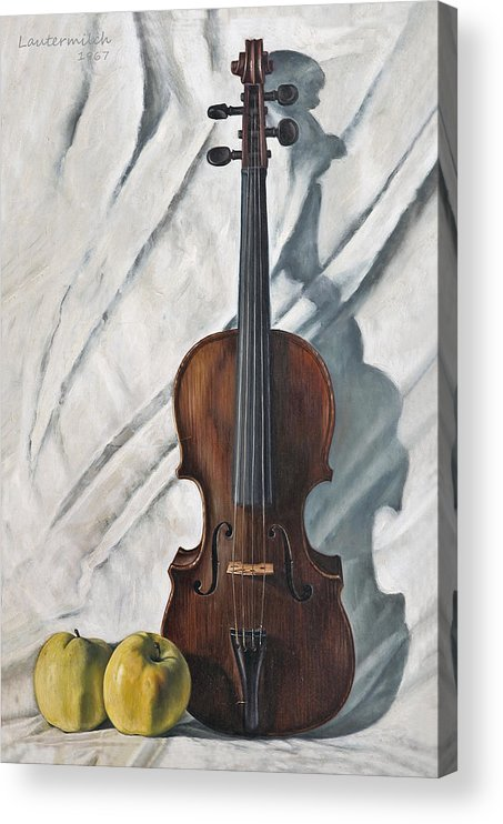 Violin Acrylic Print featuring the painting Still Life with Violin by John Lautermilch