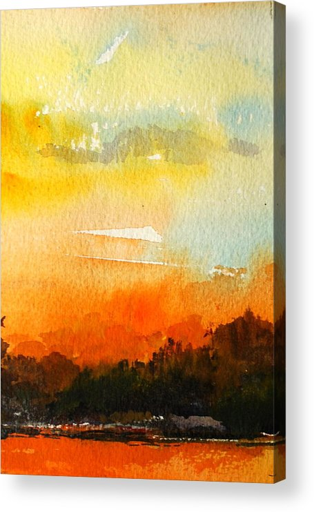 Sunset Lakes Skies Evening Acrylic Print featuring the painting Sundowner by Wilfred McOstrich