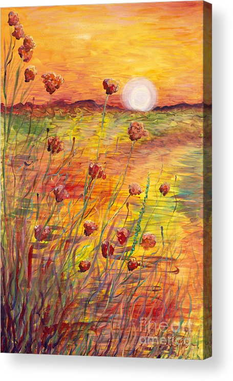 Sunset Acrylic Print featuring the painting Sunset and Poppies by Nadine Rippelmeyer