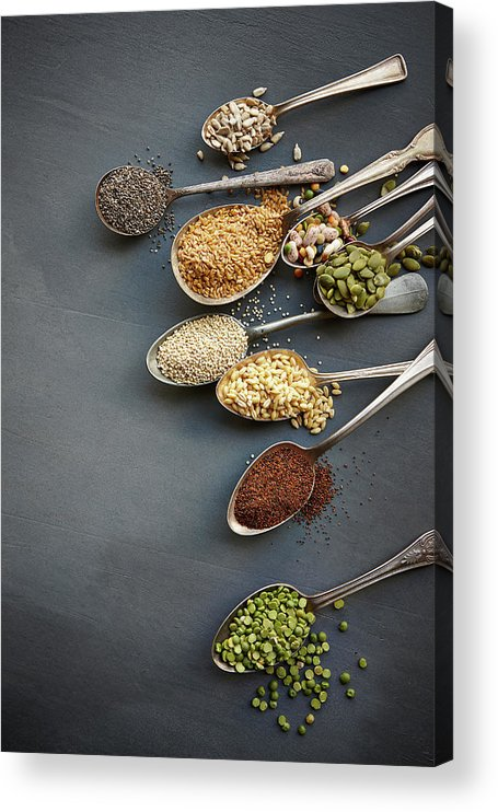 In A Row Acrylic Print featuring the photograph Super Food Grains On Spoons by Lew Robertson