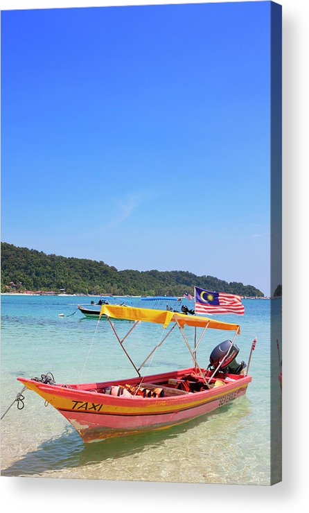 Tranquility Acrylic Print featuring the photograph Taxi Boat, Perhentian Islands by Laurie Noble